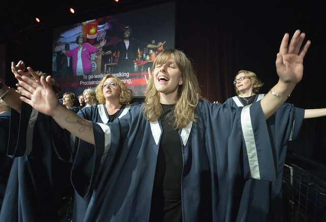 Maria Thaarup sings on May 12 during morning worship at the United Methodist General Conference in Portland, Ore. She is part of the KEFAS Choir from Denmark. Photo by Paul Jeffrey, UMNS