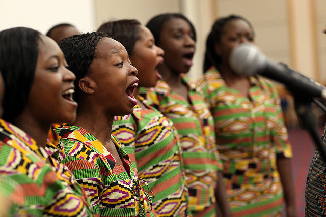 The Africa University touring choir sings during the African central conferences worship service on Sunday, May 15 at the Oregon Convention Center. Photo by Kathleen Barry, UMNS