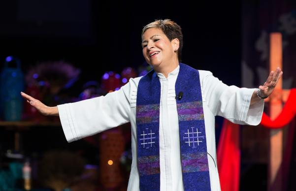 Photo by Mike DuBose, UMNS Bishop Cynthia Fierro Harvey of the Louisiana Area gives the sermon during morning worship at the 2016 United Methodist General Conference in Portland, Ore.