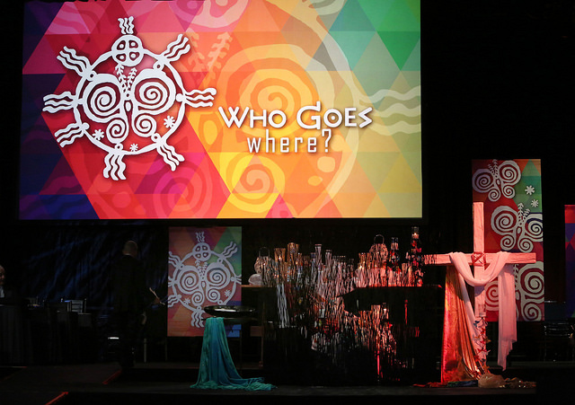 The altar of morning worship features Native American art May 20 at the 2016 United Methodist General Conference in Portland, Ore. Photo by Kathleen Barry, UMNS