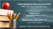 Public Education Advocacy and Faith: Why The Church Should Care