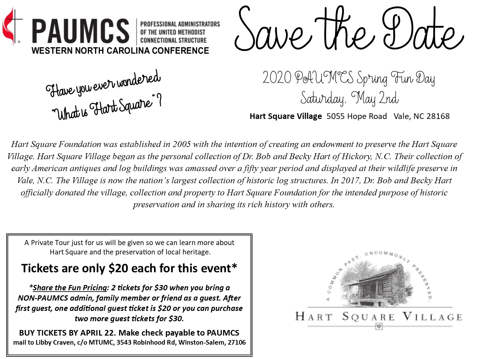 Save the date, 2020 PAUMCS Spring Fun Day Saturday, May 2nd.